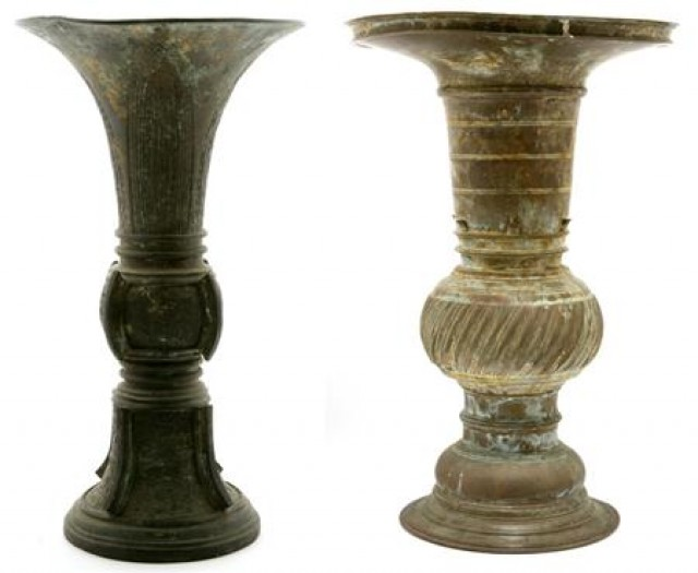 Chinese Archaistic Bronze Vase; Together with a Similar Vase