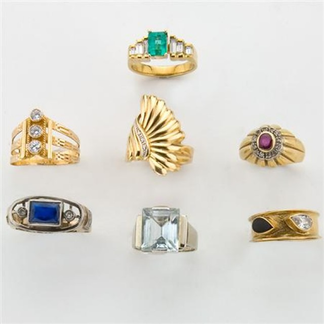 Group of Seven Gold, Gem-Set, Diamond and Simulated Diamond Rings