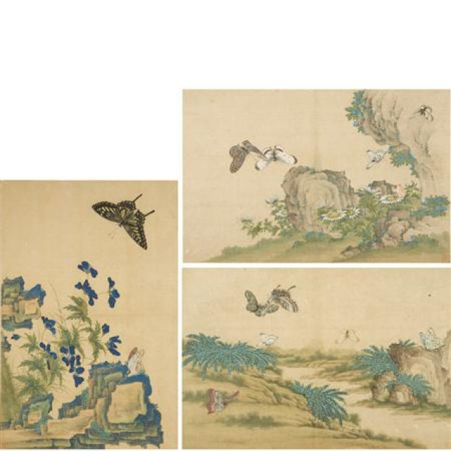 Chinese School 18th Century Album of eight leaves, birds and flowers
