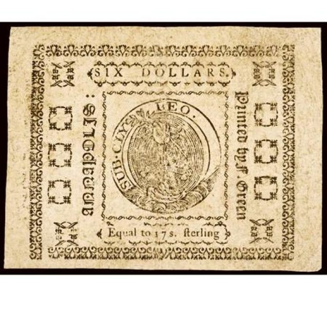 Maryland December 7 1775 Six DollarsFr MD 89 Catalogue Coins Stamps
