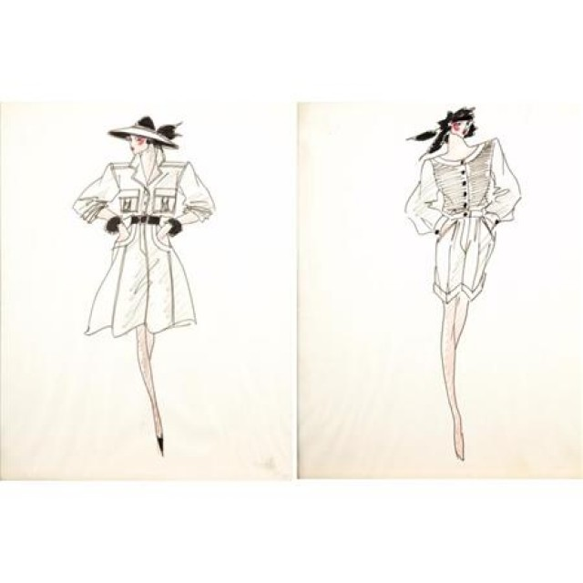 Two Framed Fashion Drawings By Yves Saint Laurent For Sale At Auction On Tue 11 03 2009 07 00 High Society Sale Doyle Auction House