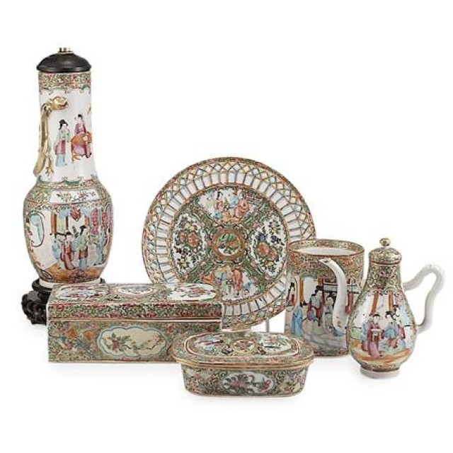 Group of Canton Rose Medallion Porcelain Articles; Together with a Canton...