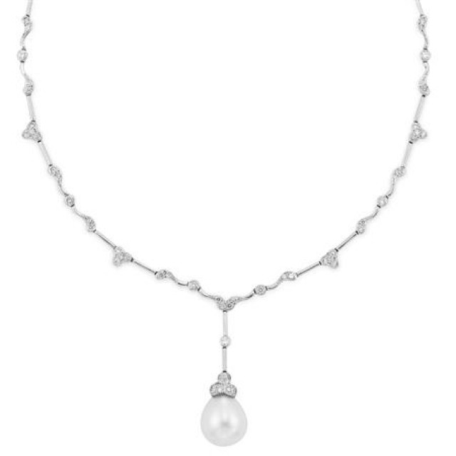 White Gold, Diamond and Cultured Pearl Pendant-Necklace