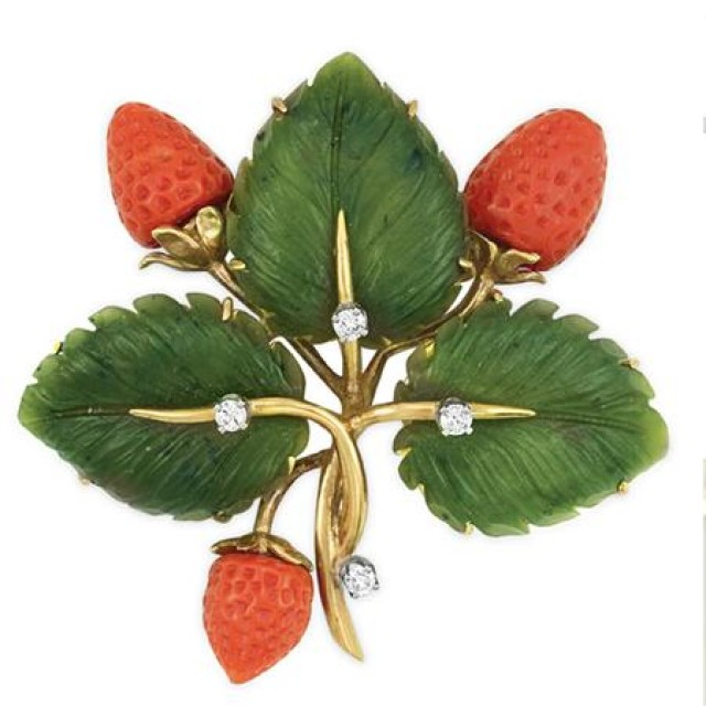 Gold, Carved Nephrite, Coral and Diamond Strawberry Leaf Brooch