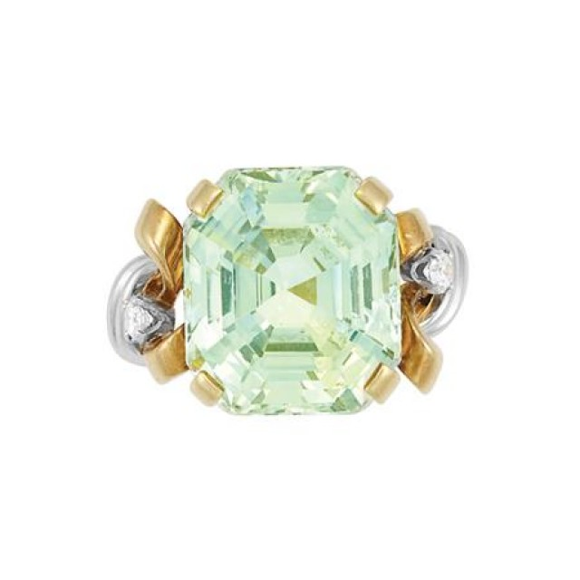 Gold, Platinum, Green Sapphire and Diamond Ring