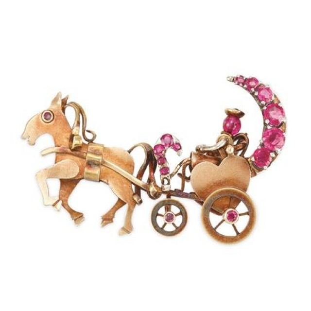 Gold and Ruby Carriage Brooch