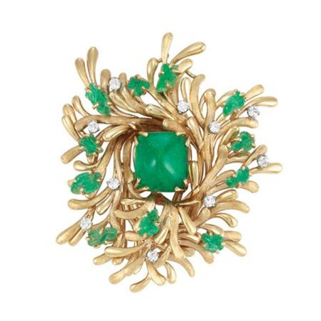 Gold, Cabochon and Carved Emerald and Diamond Clip-Brooch, Trabert and Hoeffer