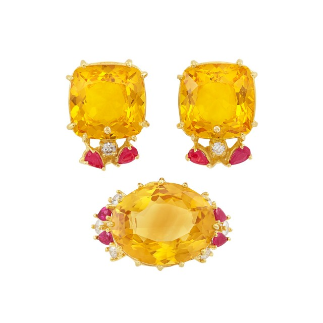 Pair of Gold, Citrine, Ruby and Diamond Earclips and Ring