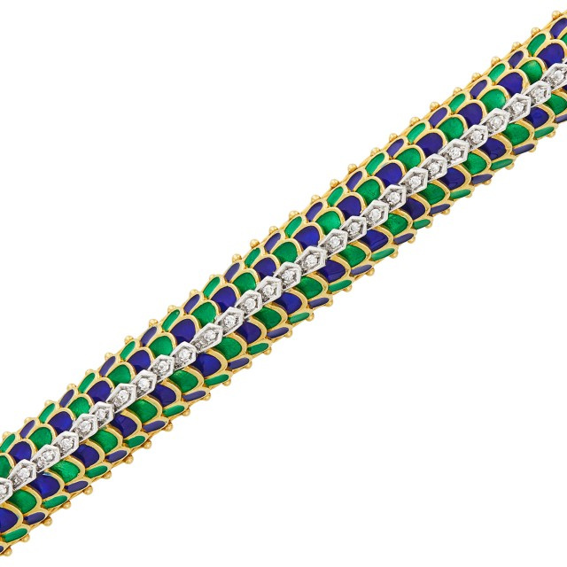 Two-Color Gold, Blue and Green Enamel and Diamond Dome Bracelet