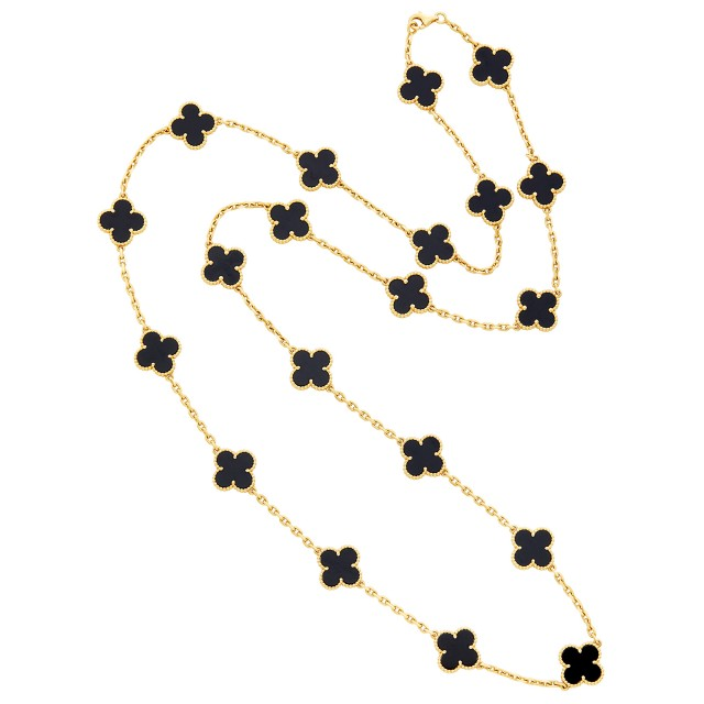 Gold and Onyx 'Alhambra' Twenty Count and Chain, Van Cleef & Arpels