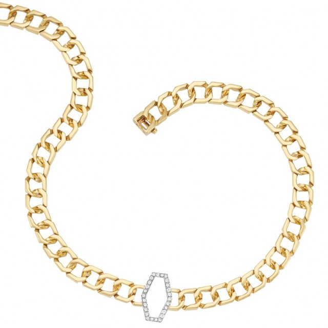 Gold, Platinum and Diamond Curb Link Chain Necklace, Van Cleef & Arpels