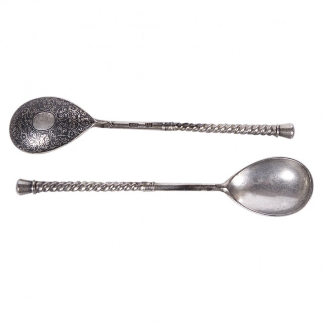 Group of Russian Niello Silver Spoons for Sale at Auction on