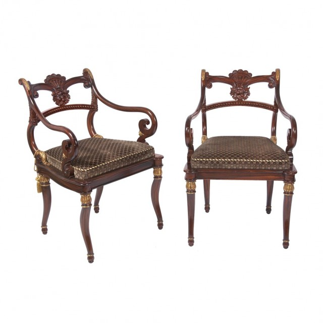Set of Eight Regency Style Parcel Painted Dining Chairs