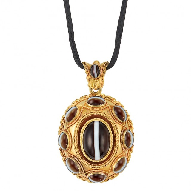 Antique Gold and Banded Agate Pendant with Silk Cord and Gold Necklace