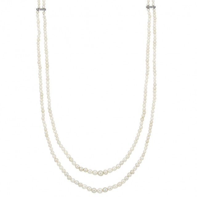 Long Double Strand Natural Pearl, Silver, Gold and Diamond Necklace