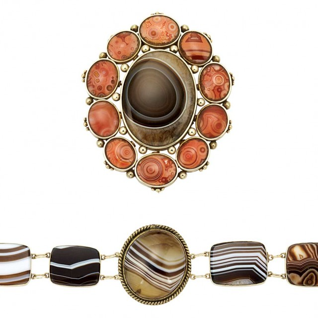 Antique Gold, Brass and Banded Agate Bracelet and Bull\'s-Eye Agate Brooch