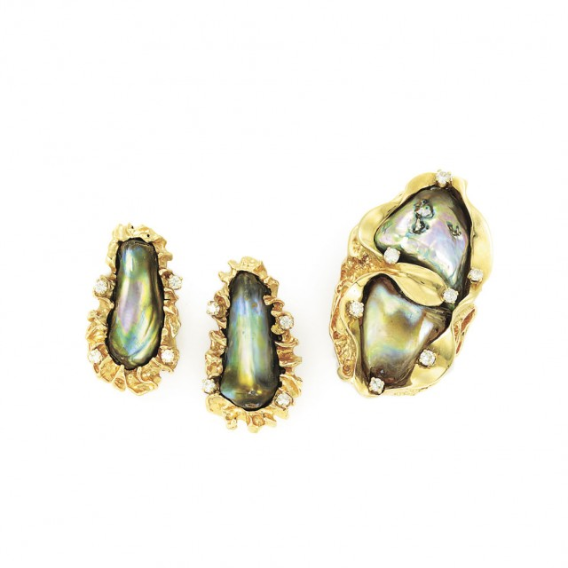 Gold, Abalone Pearl and Diamond Ring and Pair of Earclips
