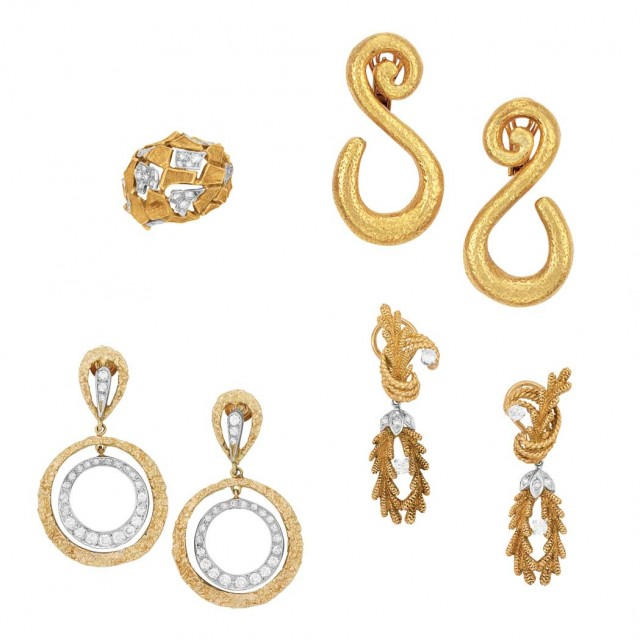 Three Pairs of Gold and Diamond Earrings and Ring