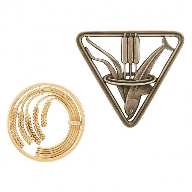 Two Sterling Silver and Gold Brooches, Georg Jensen