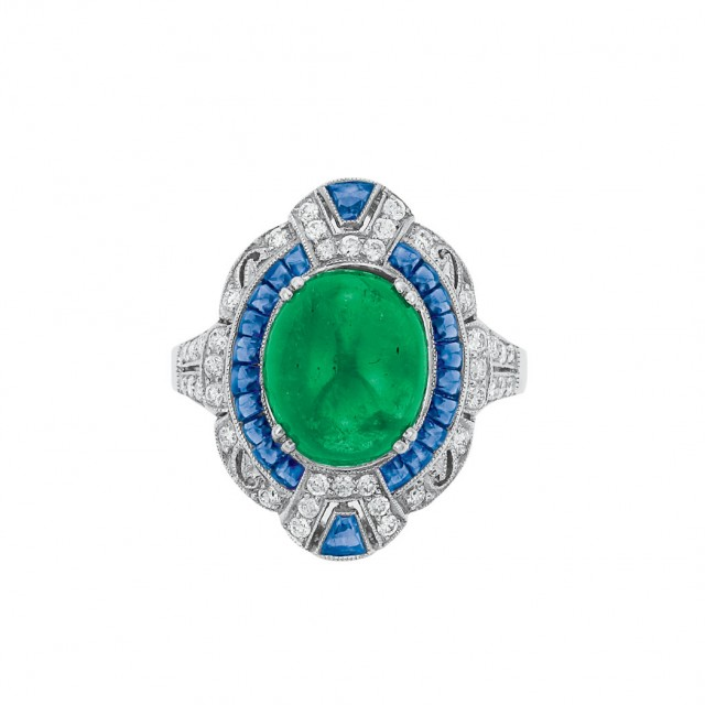 White Gold, Cabochon Emerald, Sapphire and Diamond Ring