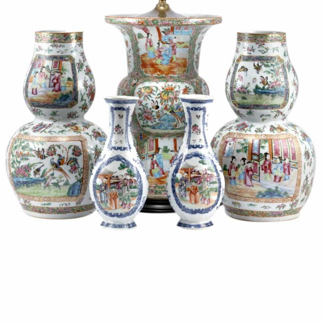 Group of Canton Famille Rose Porcelain Articles; T/w a Pair of Chinese...
