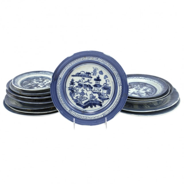Group of Canton Blue and White Porcelain Plates