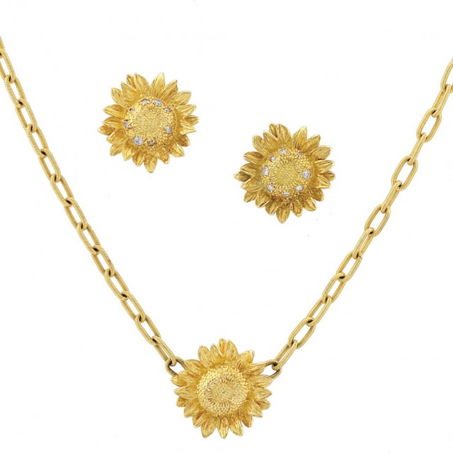 Pair Of Gold And Diamond Sunflower Earrings Pendant Necklace Asprey