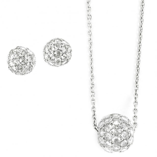 white gold and diamond ball pendant