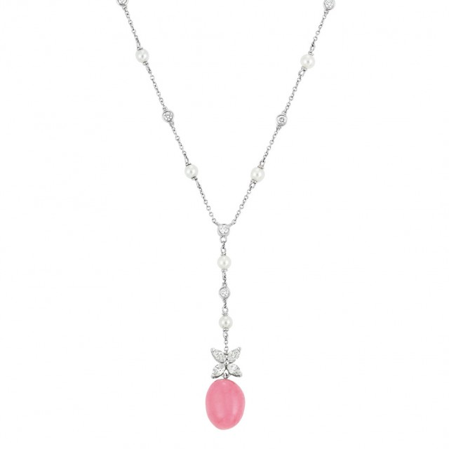 Conch Pearl Necklace: Platinum, Pearl, Diamond And Conch Pearl Pendant-Necklace