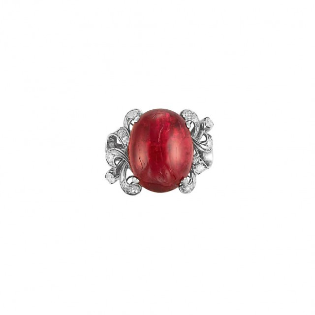 Silver, Cabochon Red Spinel and Diamond Ring