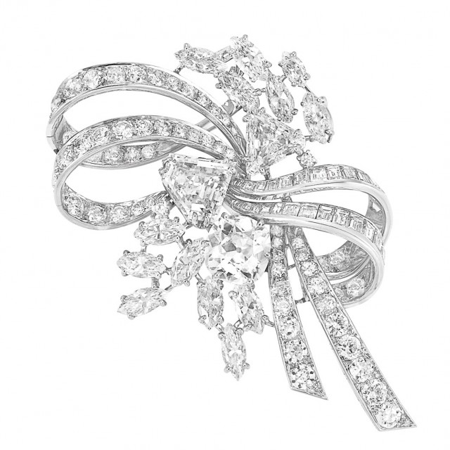 Platinum and Diamond Bow Clip-Brooch, Chaumet