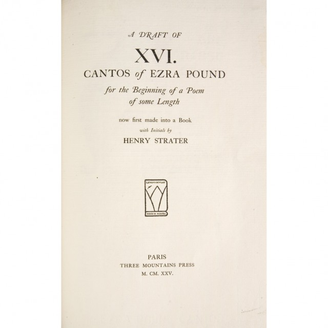 POUND, EZRA  A Draft of XVI Cantos