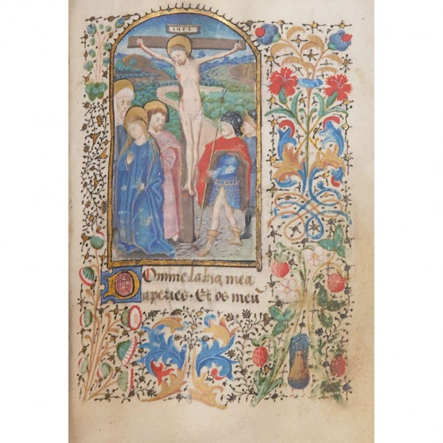 [MANUSCRIPT-BOOK OF HOURS]  Book of Hours, manuscript on vellum