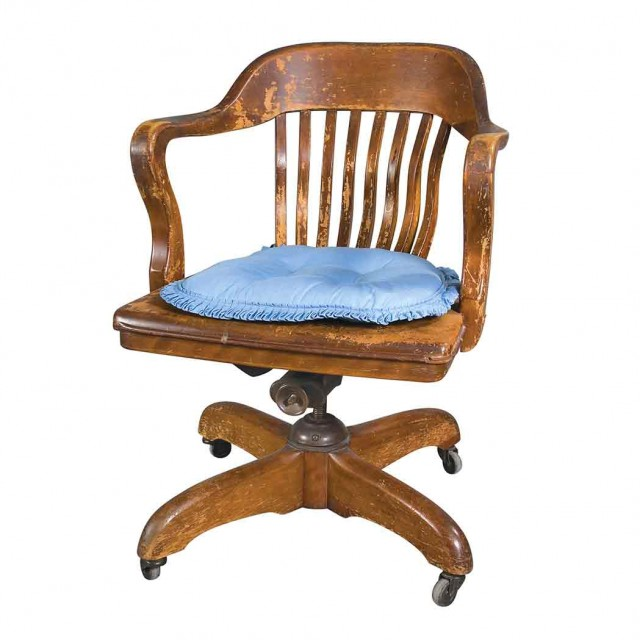 Beau Leather And Wood Captainu0027s Chair