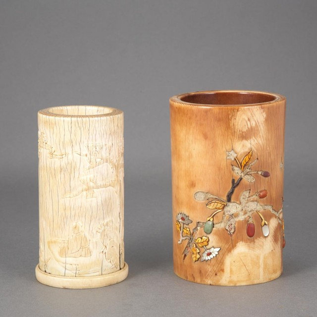 Two Chinese Ivory Brushpots