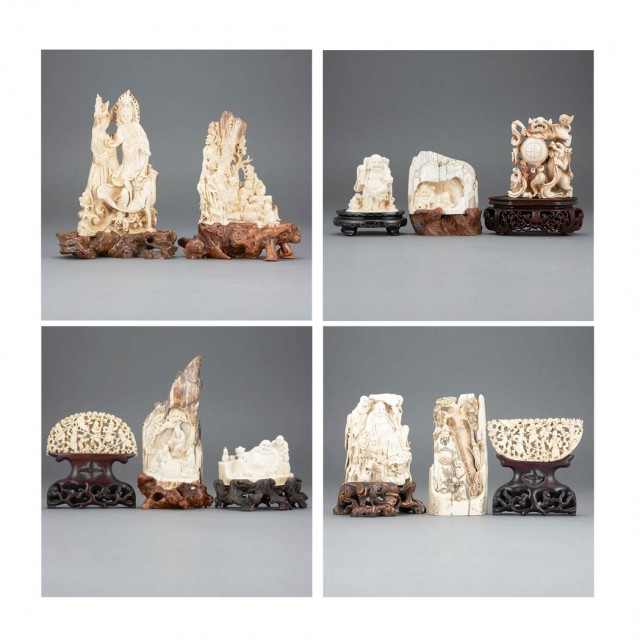 Group of Eleven Chinese Mammoth Tusk Carvings for Sale at