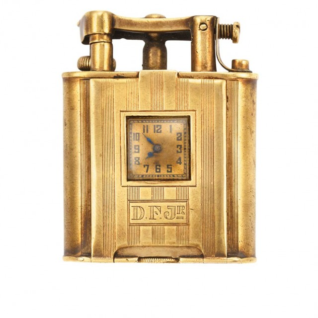 Gold Cigarette Lighter with Watch, Dunhill