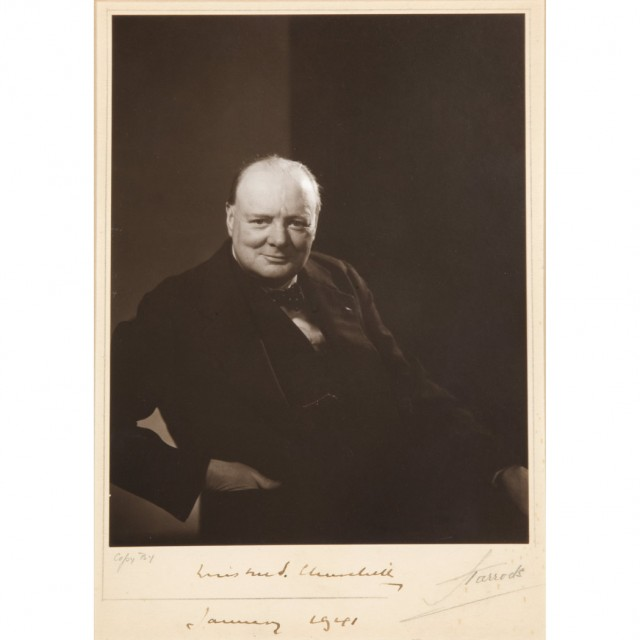 [CHURCHILL, WINSTON L. S., (SIR)]  Photograph, gelatin silver print on card mount