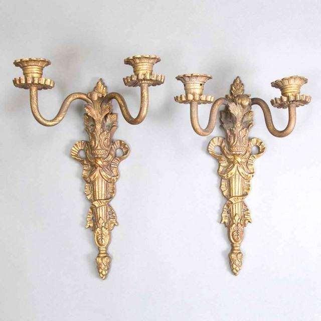 Pair of Louis XVI Style Gilt-Bronze Two-Light Sconces