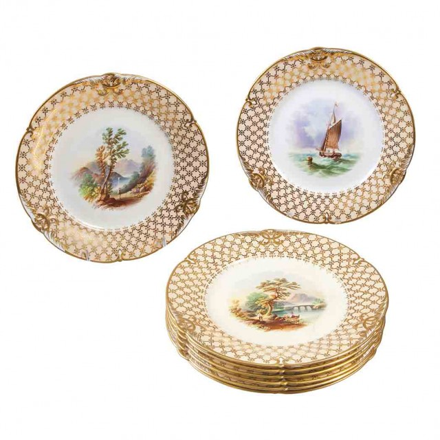 Set of Eight Continental Porcelain Dessert Plates