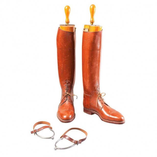 Pair of Riding Boots; Together with Wood Boot Stretchers and Decorative Spurs