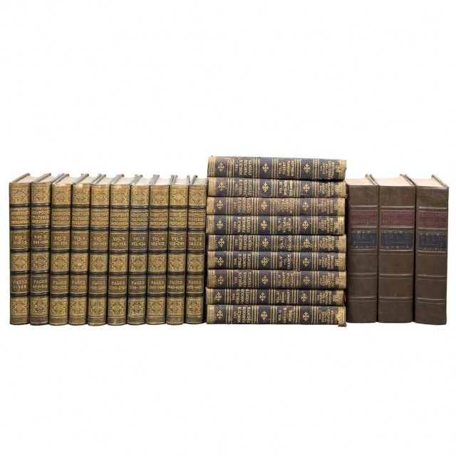 [FINE BINDINGS]  Group of approximately thirty-two tall volumes being mostly Encyclopedias, World Events, and the Bible
