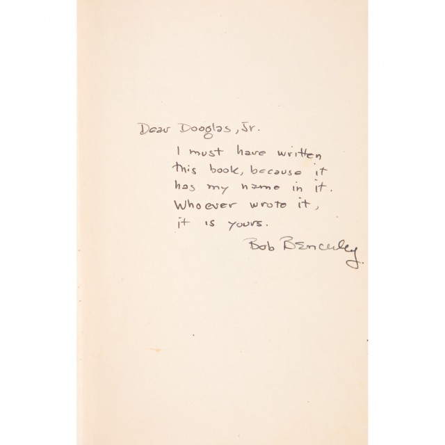 [SIGNED BOOKS]  BENCHLEY, ROBERT. Group of four signed or inscribed books to Douglas Fairbanks, Jr.