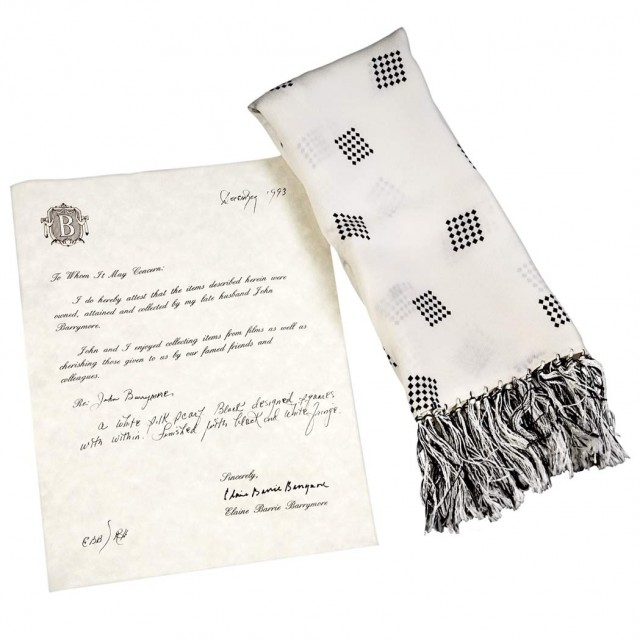 [BARRYMORE, JOHN]  White silk scarf with a design of black squares belonging to John Barrymore