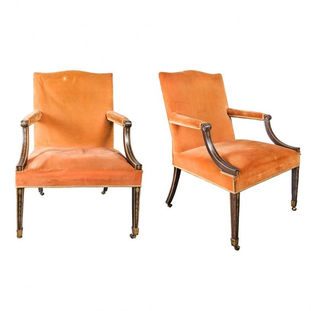 Pair of George III Painted Library Armchairs