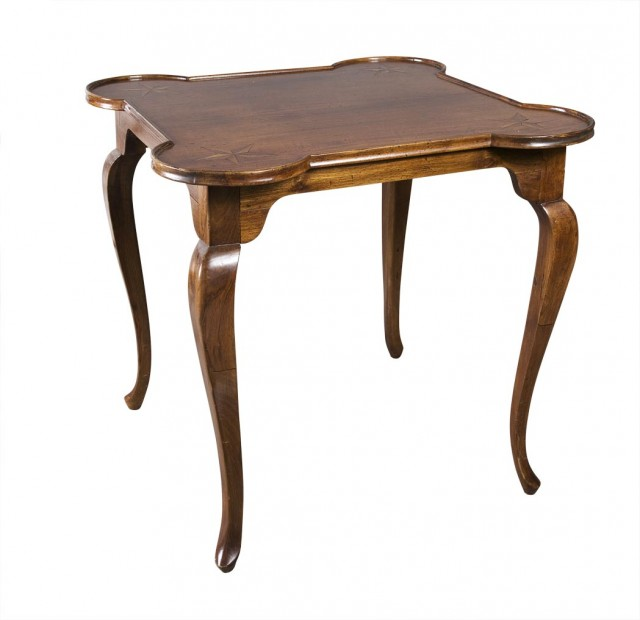 Continental Provincial Style Inlaid Fruitwood Card Table