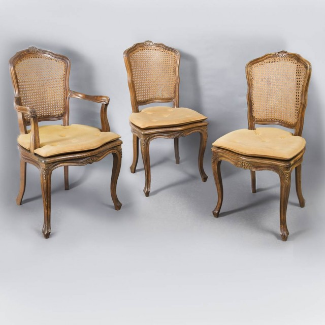 Set of Three Louis XV Style Fruitwood and Caned Dining Chairs