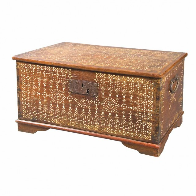 North African Mother-of-Pearl Inlaid Hardwood Chest