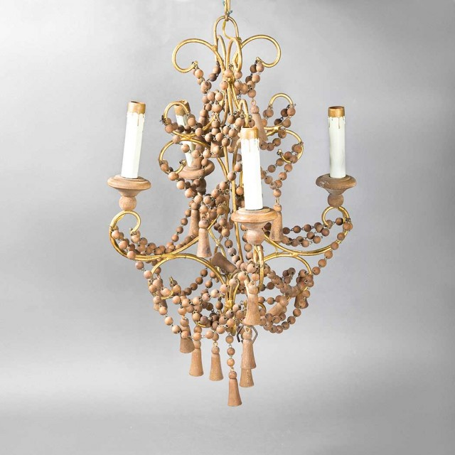 North African Style Gilt-Metal and Wood Bead Four-Light Chandelier