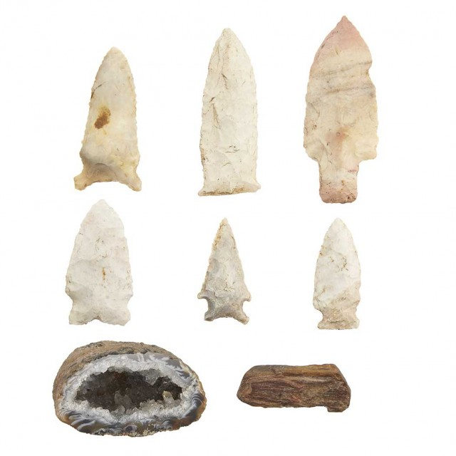 Group of Seven Indian Artifacts; Together with a Geode